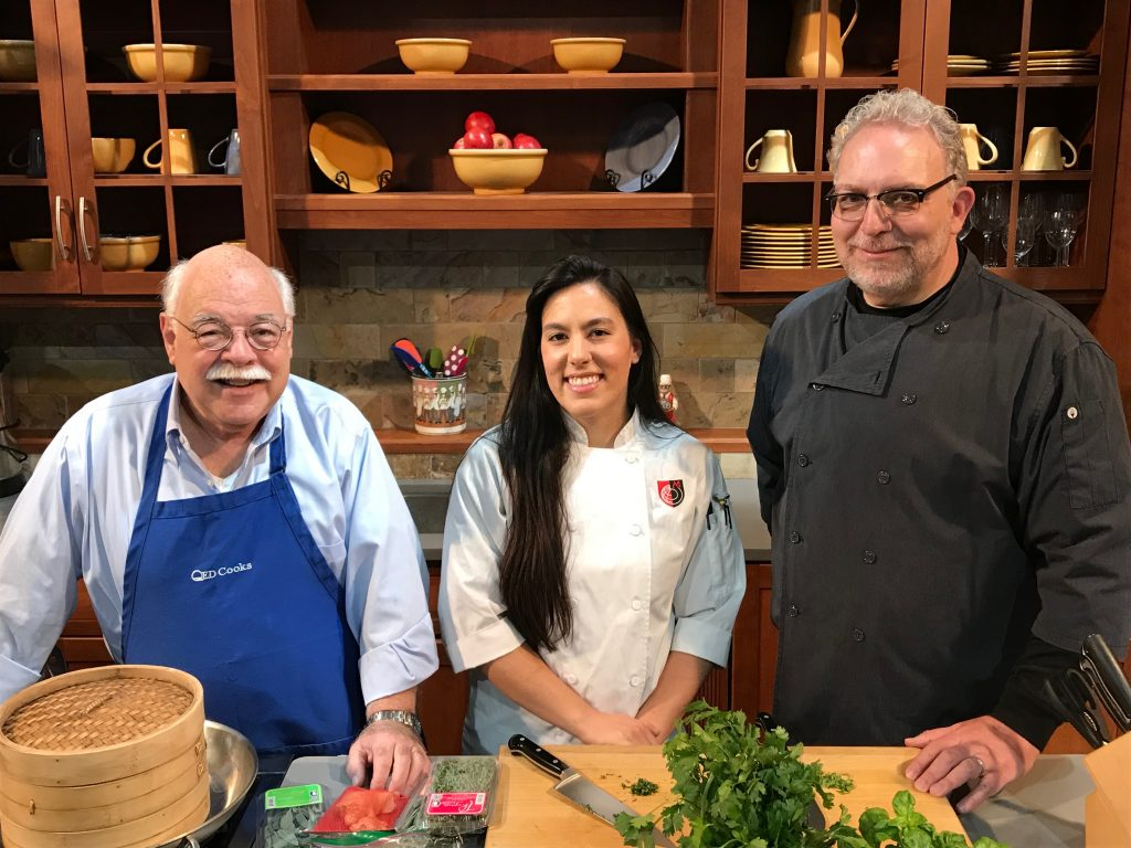 QED Cooks Host Chris Fenimore, guest Chef Jamilka Borges and 2019 Camp Delicious! Director Chef Roger Levine