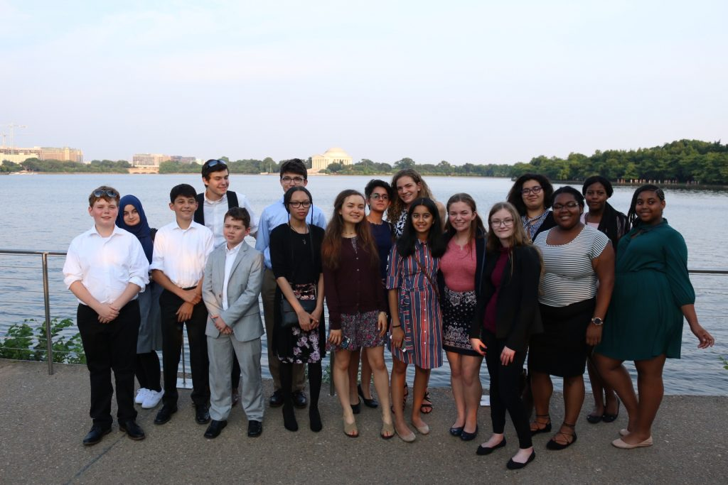2018 Teen Ambassadors group photo with the Jefferson Memorial in the background