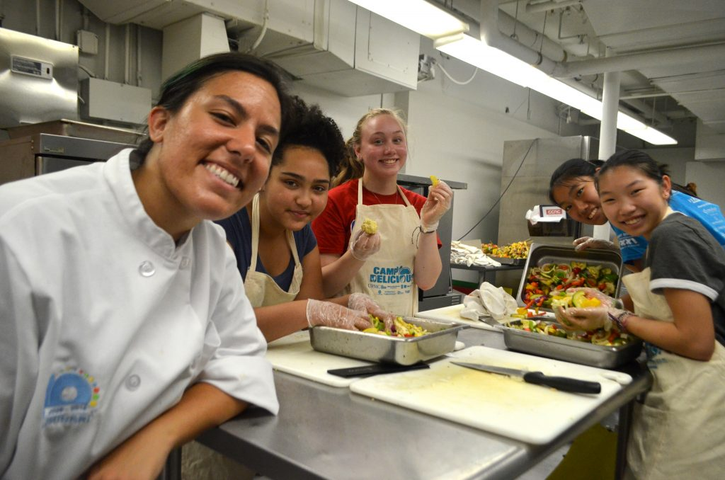 Camp Delicious! students with sous chef Taylor Flora