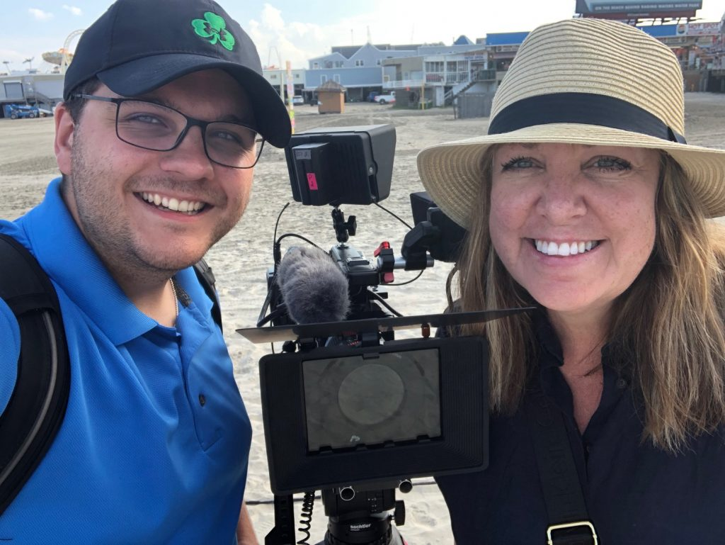 Producers Beth Dolinar and Zak Boyle at the National Marbles Tournament in Wildwood, NJ in June 2019