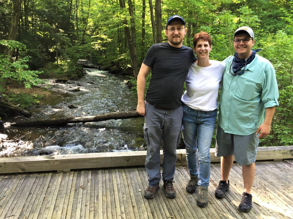 Downstream crew shooting on location at a tributary of the Little Juniata River in Summer 2018